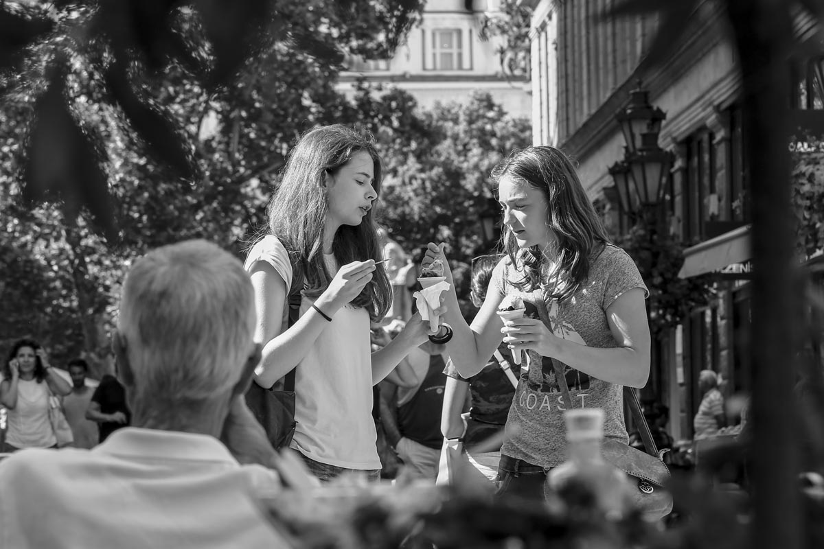 Street Photography - Face to Face - Sharing Ice Cream.