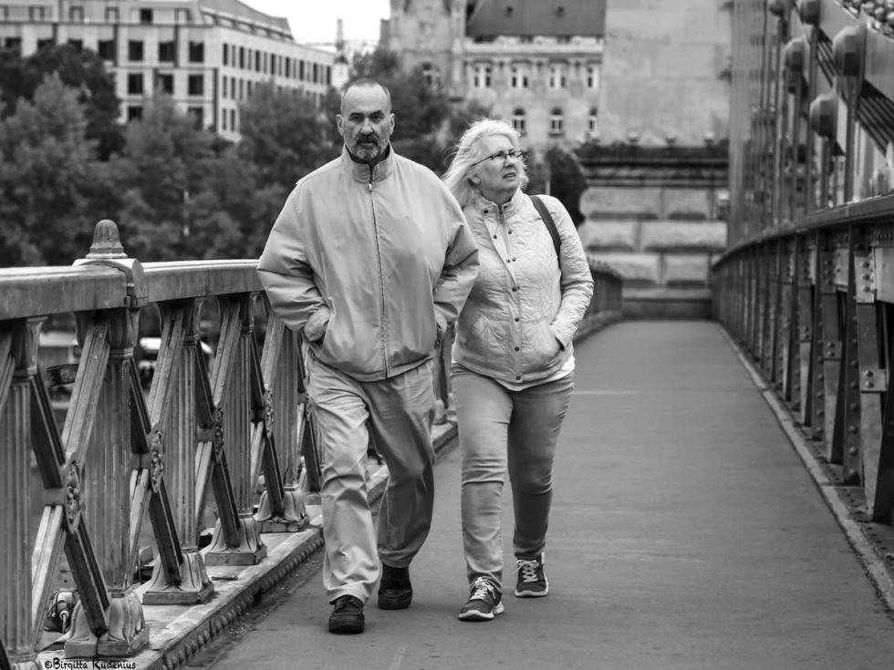 Street Photo - Couple on Chain Bridge, Budapest.